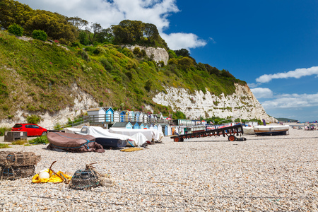 south west england: Boats on the beach at Beer, Lyme Bay Devon England UK Europe