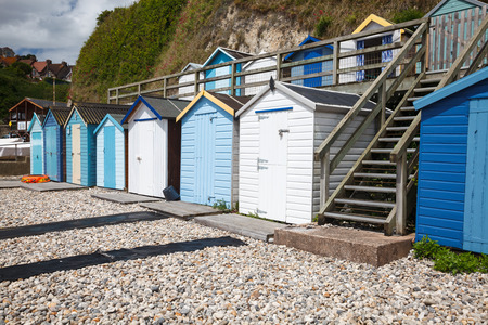 Huts on the beach at Beer, Lyme Bay Devon England UK Europe