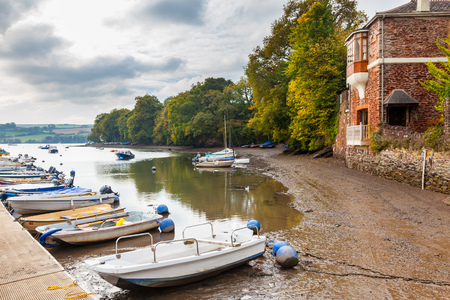 gabriel: Boats moored in the creek at Stoke Gabriel in the South Hams Devon England UK Europe