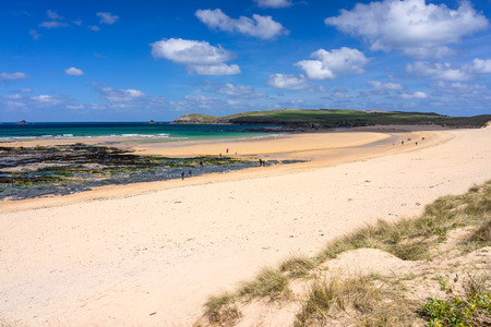 constantine: The beautiful golden sandy beach at Constantine Bay with Trevose Head in the distance Cornwall England UK Europe
