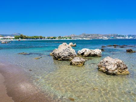 rhodes: Kathara Beach Faliraki Rhodes Dodecanese Greece Europe Stock Photo