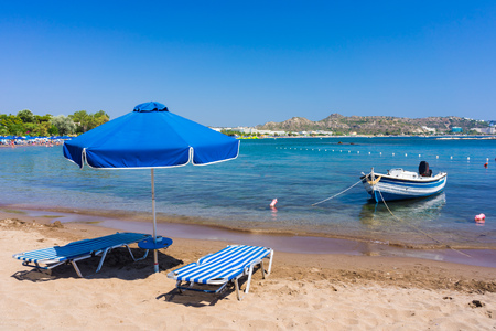 dodecanese: Sunbed on the beach at Faliraki Rhodes Dodecanese Greece  Europe