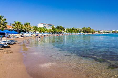 dodecanese: The beach at Faliraki Rhodes Dodecanese Greece  Europe Stock Photo