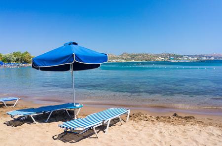 sunbed: Sunbed on the beach at Faliraki Rhodes Dodecanese Greece  Europe