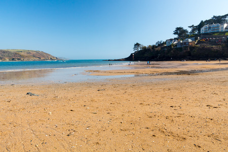 hams: playa de arena dorada en el South Sands Salcombe South Hams Devon Inglaterra Reino Unido Europa Foto de archivo