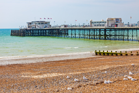 seafronts: The beach and pier at Worthing West Sussex England UK Europe Stock Photo