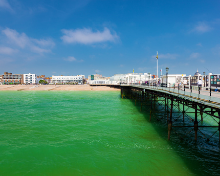 west sussex: The beach as seen from the Pier at Worthing West Sussex England UK Europe
