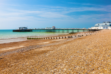 west sussex: The beach and pier at Worthing West Sussex England UK Europe Stock Photo
