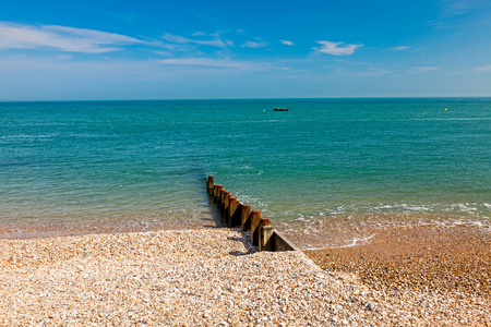 shingle: Timber groyne on the shingle beach at Selsey Bill West Sussex England UK Europe
