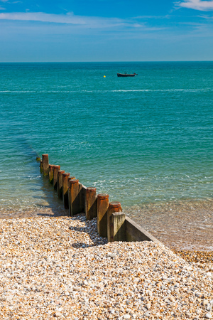 selsey: Timber groyne on the shingle beach at Selsey Bill West Sussex England UK Europe