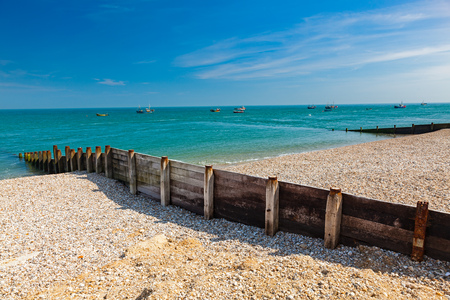 Timber groyne on the shingle beach at Selsey Bill West Sussex England UK Europe
