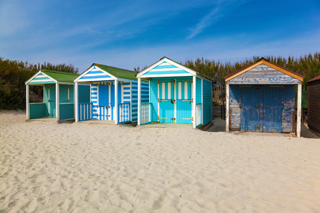 west sussex: Traditional beach huts on fine golden sand at West Wittering Beach West Sussex England UK Europe