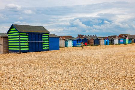 Huts on Bound Lane Beach, Hayling island Hampshire England UK Europe Stock Photo