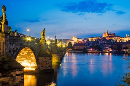 crossings: Views of the River Vltava, Charles Bridge and the Castle beyond. Prague Czech Republic Europe