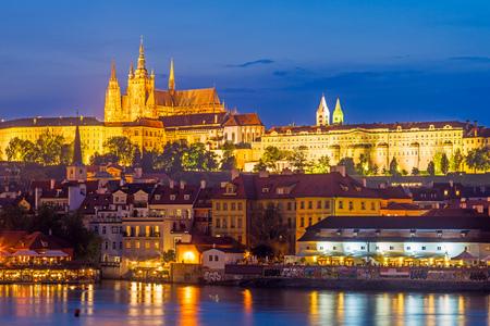republika: Twilight views of the River Vltava and Prague Castle beyond. Czech Republic Europe Editorial