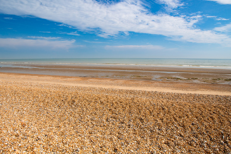 Deserted Winchelsea Beach on the coast of East Sussex England UK Europe