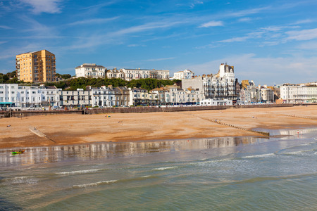 Overlooking the town and beach from Hastings Pier East Sussex England UK Europe
