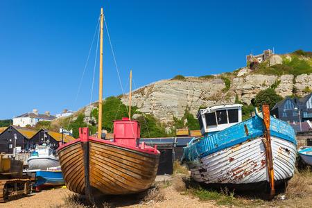 shingle beach: Boats on the shingle beach at Hastings East Sussex England UK Europe Stock Photo