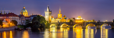 charles bridge: View of the River Vltava and Charles Bridge at Dusk Prague Czech Republic Europe