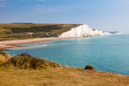 The Seven Sisters Chalk cliffs seen from Seaford Head South Downs East Sussex England UK
