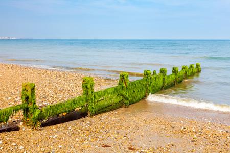 shingle beach: Timber Groynes on the shingle beach at Pagham West Sussex England UK Europe Stock Photo