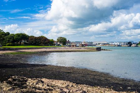 Shingle beach on the River Tamar at Cremyll Cornwall England UK