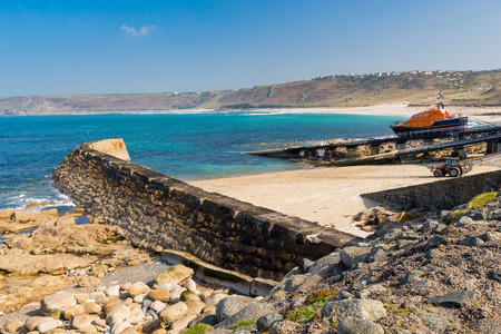 sennen: Stunning summers day on the seafront at Sennen Cove near Lands End Cornwall England UK Europe