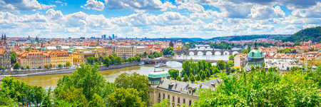 Views along the River Vltava and its many bridges including Charles Bridge. Prague Czech Republic Europe Stock Photo