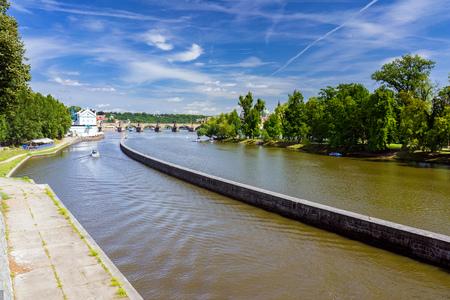 Views along the River Vltava from the Czech Capital City of Prague Europe