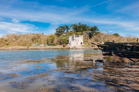 Hooe Lake and the 19th-century folly known as Radford Castle Plymstock Plymouth Devon England UK