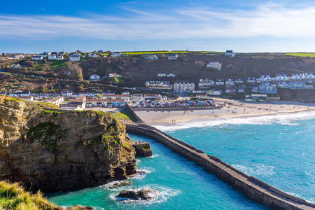 Overlooking the village of Portreath from Lighthouse Hill. England UK Europe
