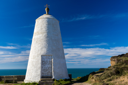 The pepperpot daymark on Lighthouse Hill Portreath Cornwall. Once used as a shelter from which a Huer would spot sholes of Pilchards in the bay.