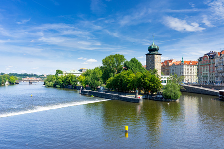 Views along the River Vltava from the Czech Capital City of Prague Europe