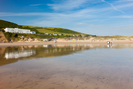 Reflections on Saunton Sands  Devon England UK Europe