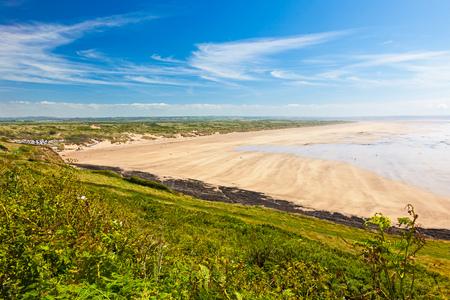 Overlooking the golden sandy beach at Saunton Sands Devon England UK Stock Photo