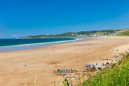 Overlooking the beautiful golden sandy beach at Putsborough Sands Devon England UK Europe