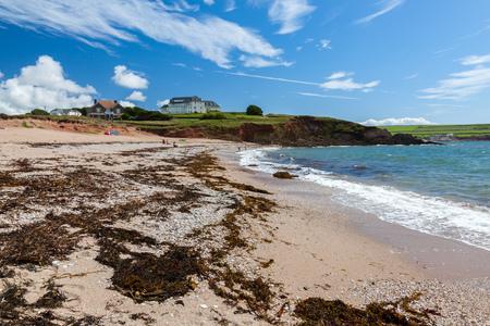 The golden sandy Leas Foot Sands Beach at Thurlestone Devon England UK Europe
