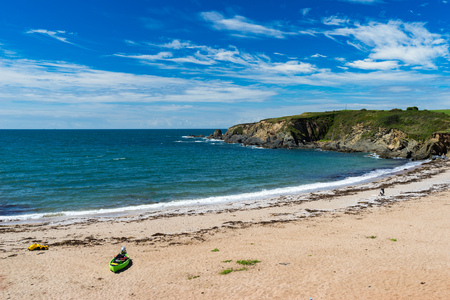 Overlooking the golden sandy Leas Foot Sands Beach at Thurlestone Devon England UK Europe