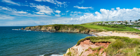 Overlooking the golden sandy Leas Foot Sands Beach at Thurlestone Devon England UK Europe