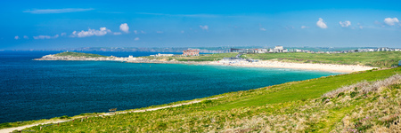 Panoramic view towards Fistral beach from East Pentire Newquay Cornwall England UK Stock Photo