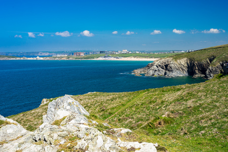 Views towards Fistral beach from East Pentire Newquay Cornwall England UK