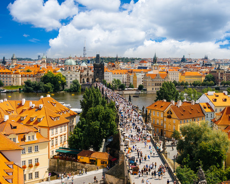Aerial shot of Charles Bridge (Karluv Most), Prague Castle and the River Vltava, Czech Republic