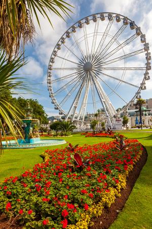 TORQUAY, UNITED KINGDOM - 20th of September 2016 -  English Riviera Wheel a 60 foot ferris wheelin Torquay Devon England Editorial