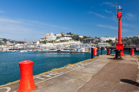 TORQUAY, UNITED KINGDOM - 7th of May 2016 - Summer at Torquay Harbour & Marina Devon England UK a popular tourist destination