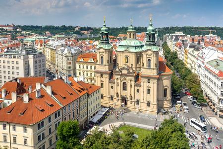 St Nicholas Church Prague as seen from the Old Town Hall. Czech Republic Europe