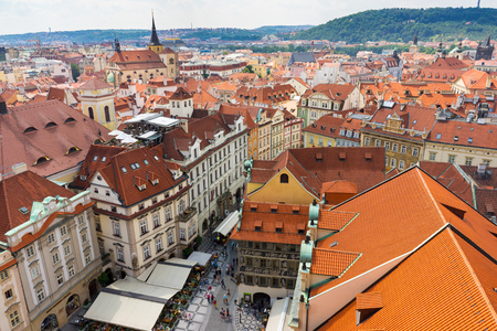 Old town as seen from the Old Town Hall Prague Czech Republic Europe Editorial