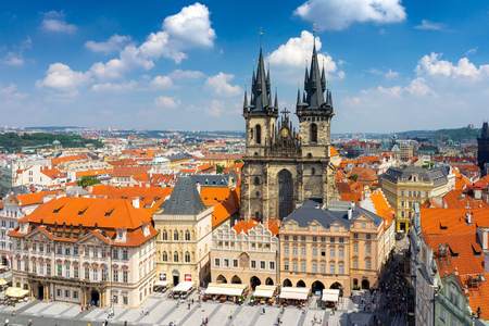Old town square and Tyn Church seen from the Old Town Hall Prague Czech Republic Europe Stock Photo