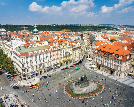 Old town square and Tyn Church seen from the Old Town Hall Prague Czech Republic Europe Editorial