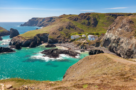Dramatic coastline at Kynance Cove on the Lizard Peninsula Cornwall England UK Stock Photo