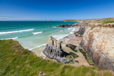 Spectacular coastline Gwithian Cornwall with Godrevy in the distance. England UK